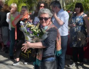 Presenting flowers to Anne Hennessy