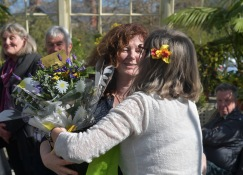 Presenting bouquet to Felicity Gaffney, Head of Ed at the Botanic Gardens